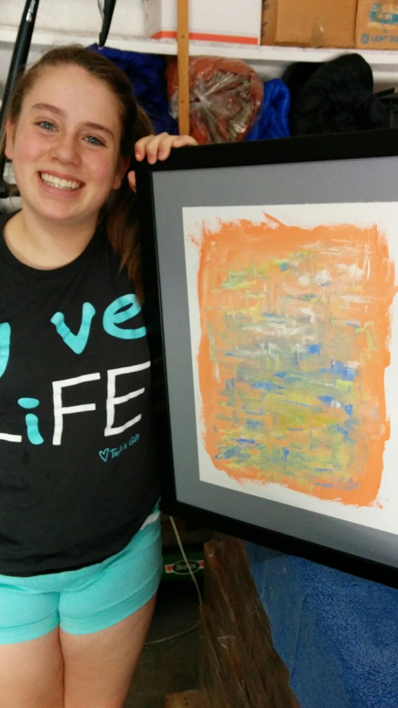Happy daughter with Untitled 0.6, oil on canvas paper, 12x16, 16x20 framed